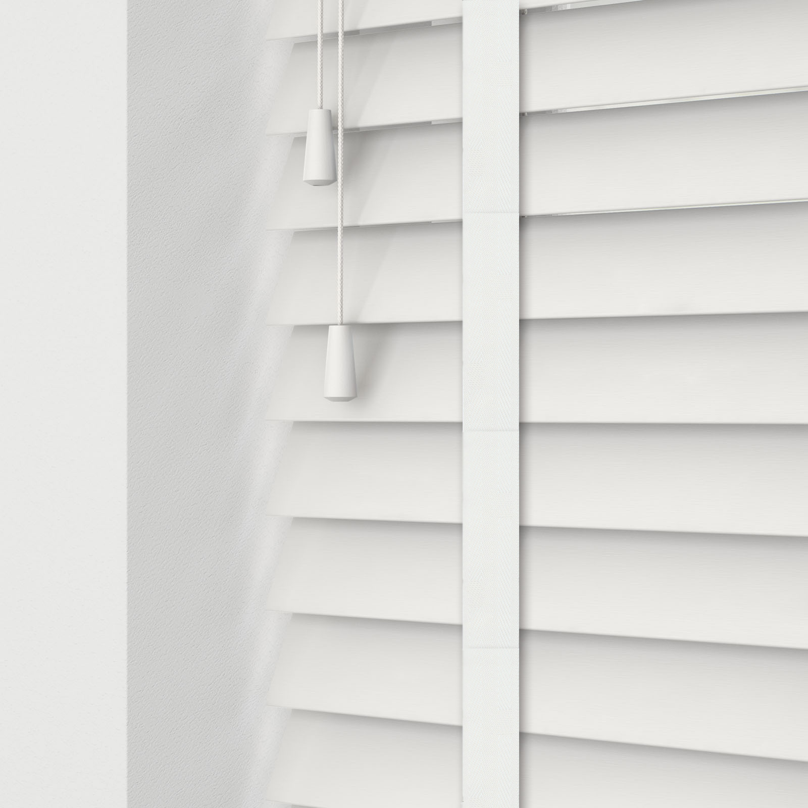 True Bright White Faux Wood Venetian Blinds With Flatweave