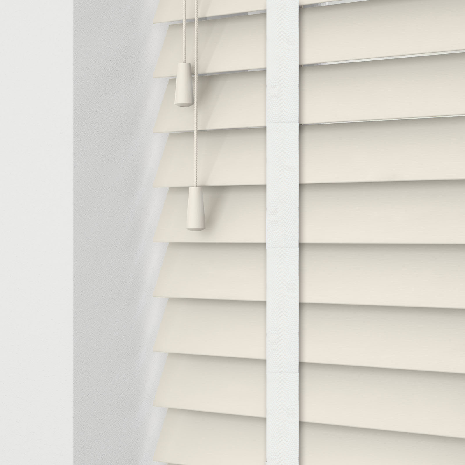 Mirage Cream Faux Wood Venetian Blinds With Herringbone